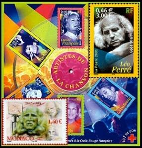 """Bloc-feuillet """"Artistes de la chanson"""", graphisme Aurélie Baras, photo de Léo Ferré par Patrick Ullman. En médaillon en bas, timbre de Monaco de 2004, dessin de Blaise Devissi."""